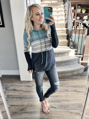 Coming Through Hooded Top in Dusty Blue Plaid with Stripes