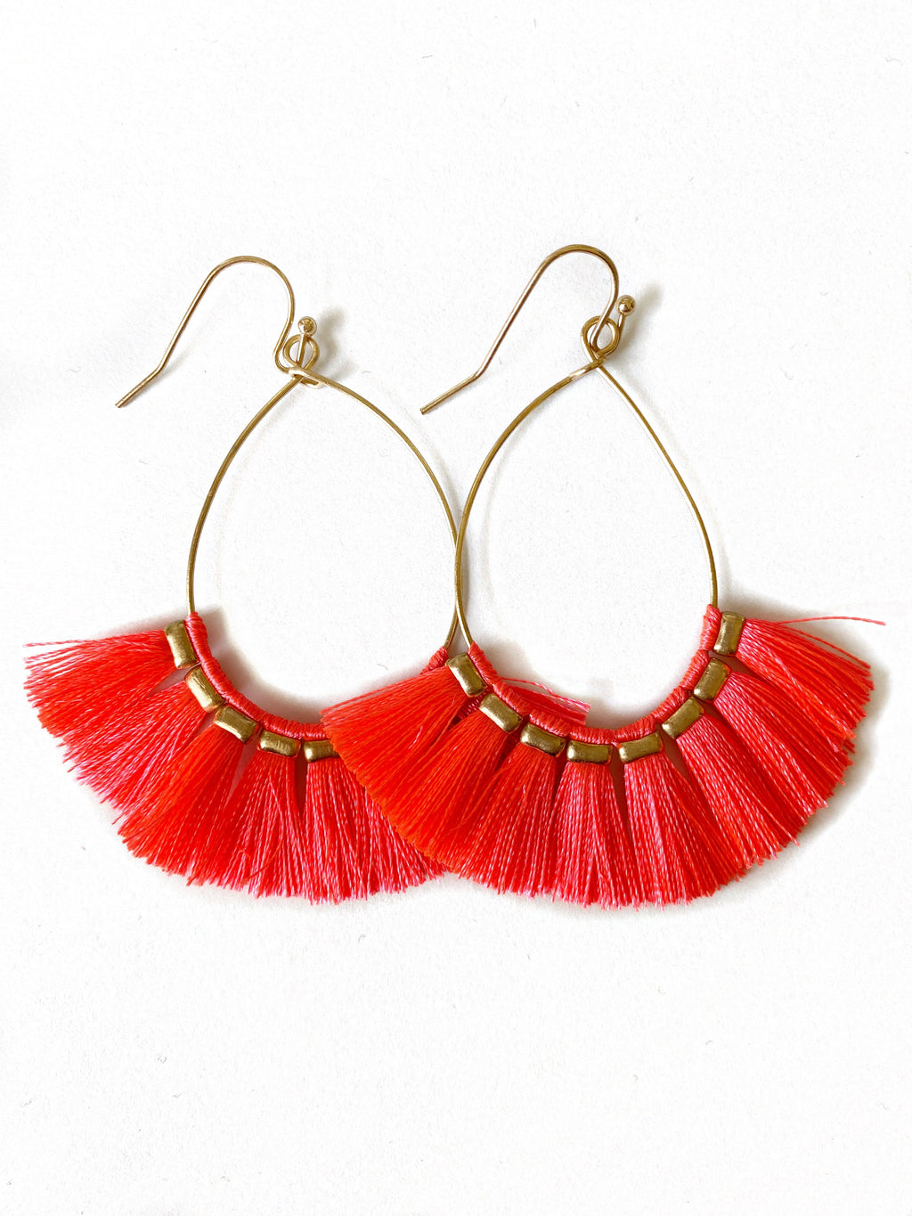 Ashley Fringe Earrings in Hot Pink