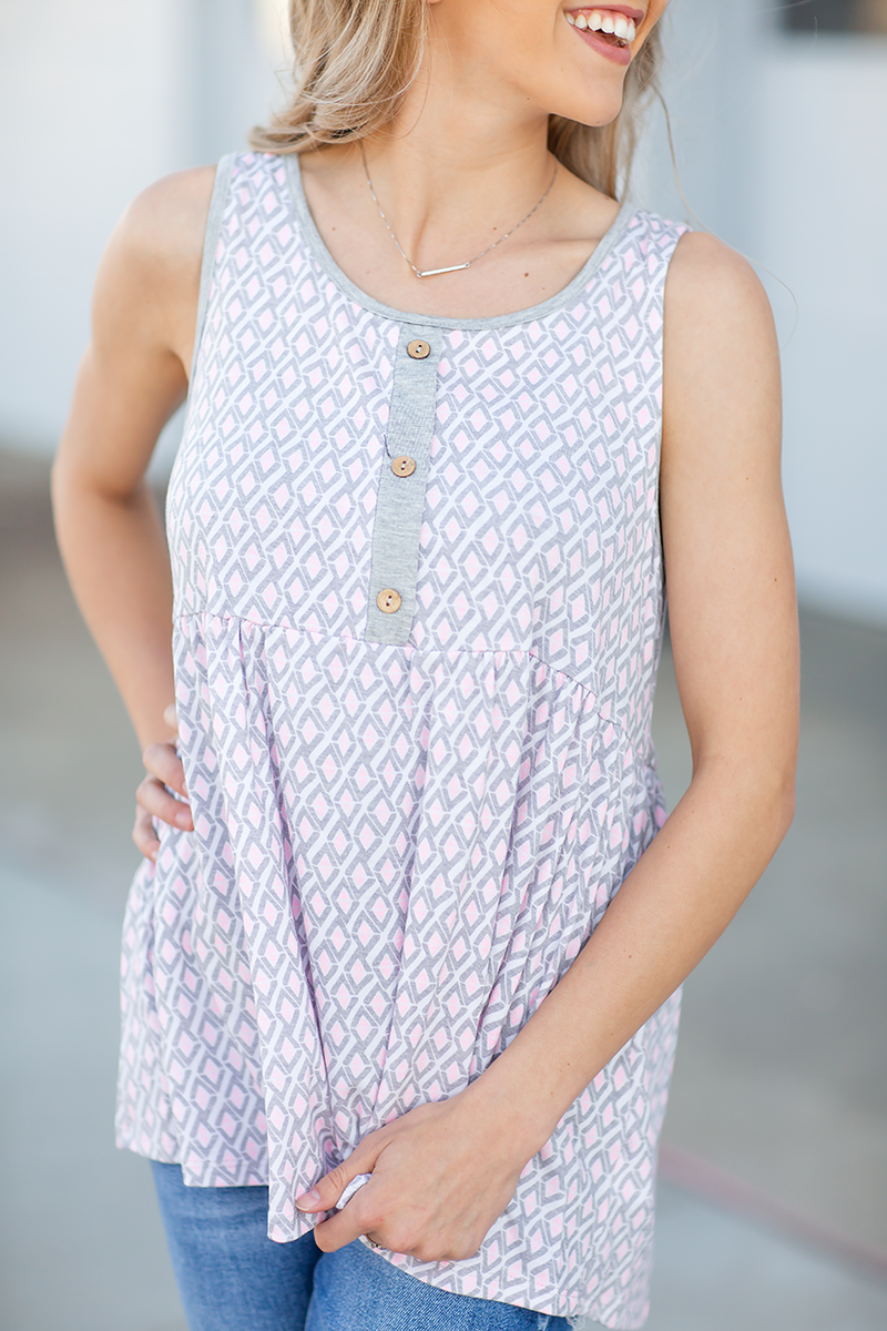 Piece by Piece Tank Top in Pink and Gray