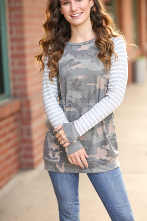 New and Amazing Camo Top with Gray Striped Sleeves