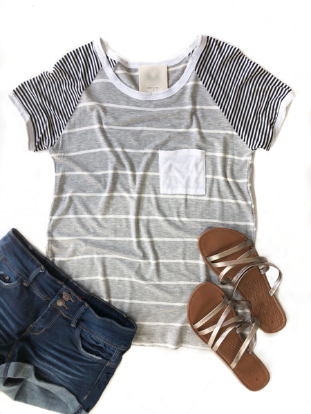 Never The Same Striped Gray Top
