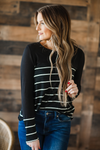 Talk Too Much Striped Top in Black