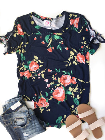 Floral Top in Navy With Tie Details