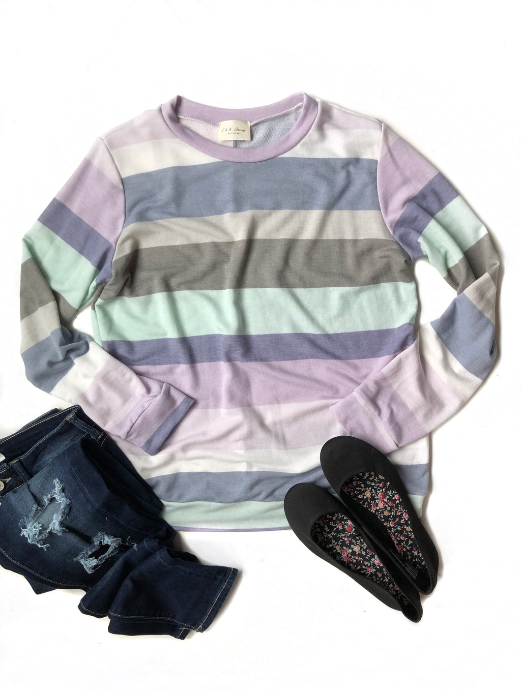 Much Needed Striped Top in Lavender, Blue, Mint and Gray