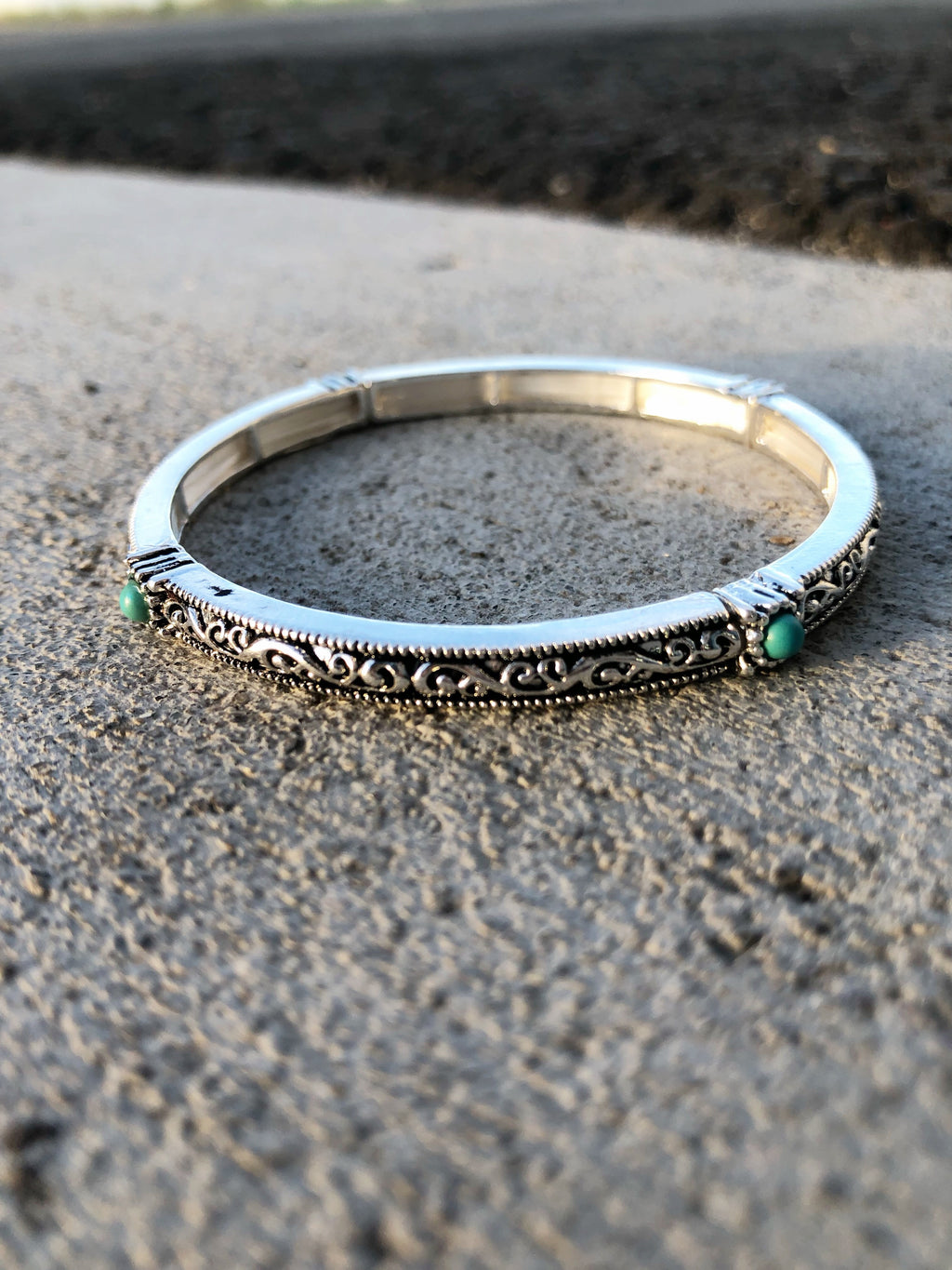 Silver Bracelet with Turquoise Detail