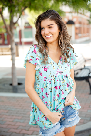 We Heart Floral Flare Bottom Aqua Top