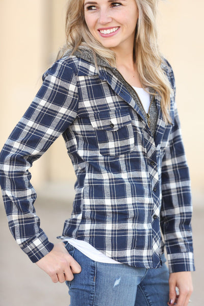 Plaid To Perfection Top in Navy