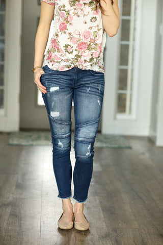 KanCan Moto Denim Jeans in Dark Wash