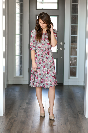 All Eyes On You Gray Floral Dress