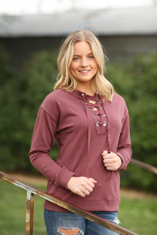 City Sleek Lace Up Top in Burgundy