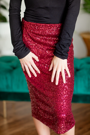 Light Up the Night Sequin Skirt in Burgundy