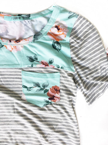 Long Live Striped Tee With Floral Back