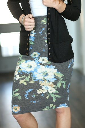 Good Old Days Floral Skirt in Charcoal