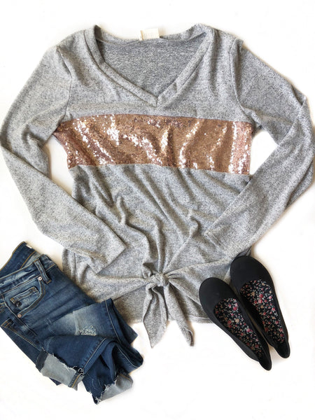Comfort Zone Sequin Detailed Top in Gray