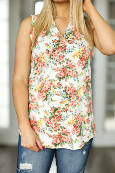Greatest Love Story Ivory Floral Tank