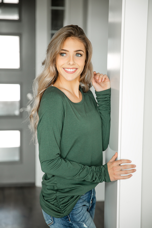Goes With Everything Side Scrunch Tunic in Hunter Green