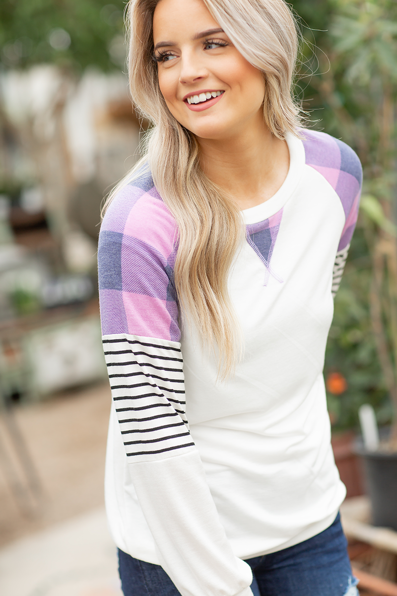 Fun Times Top with Plaid and Striped Sleeves in White and Lavender