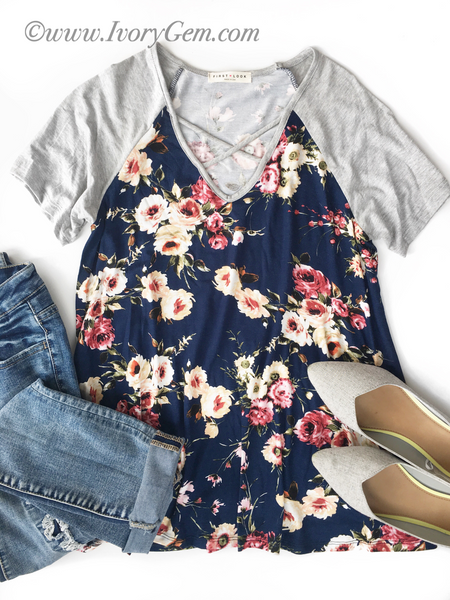All For Floral Criss Cross Tee in Navy