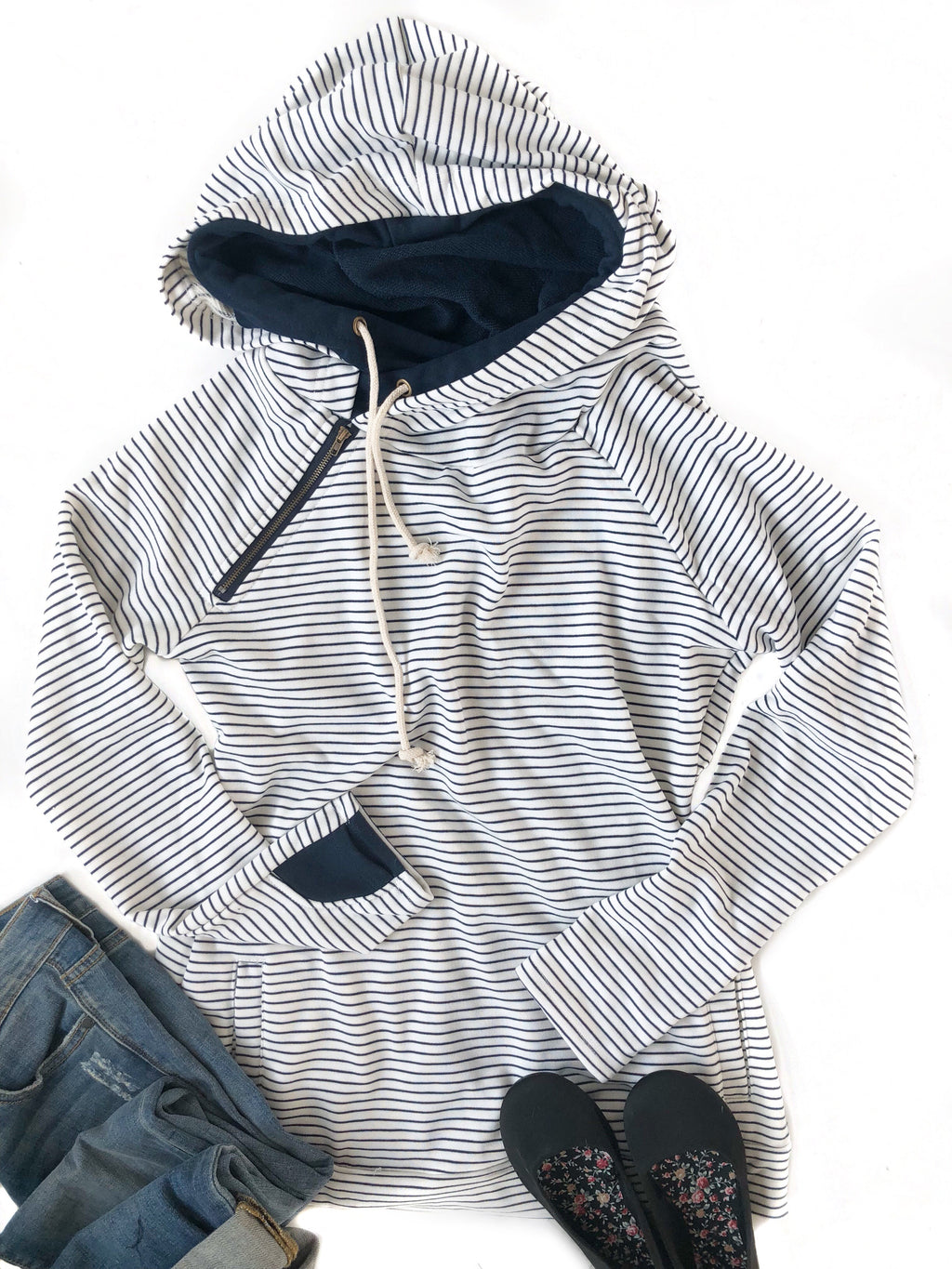 Mad About Stripes Double Hooded Sweatshirt in Striped Navy