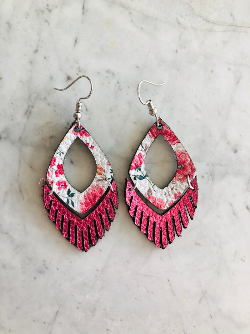 Oval Fringe Leather Earrings in Metallic Pink
