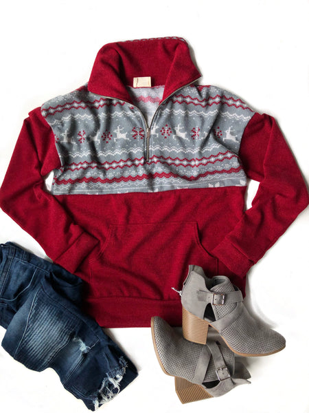 The One For Me Pullover in Red and Gray