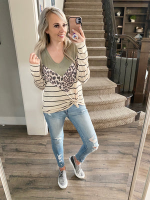 Ready for a Good Time Animal Print Top in Olive