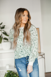 Grew Up Over Night Floral Top in Mint