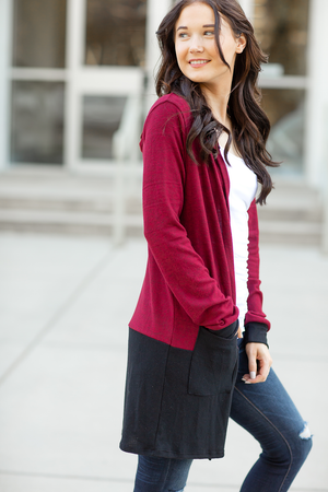 Charming and Sweet Striped Duster Cardigan in Red and Black