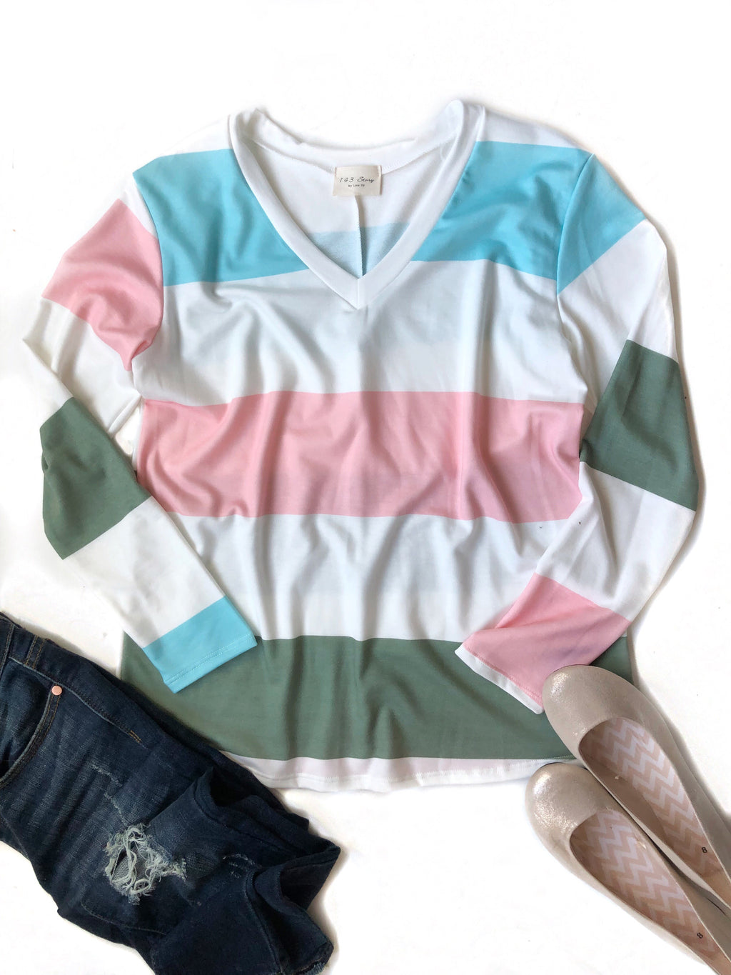 Thinking About It Striped Top in Blue, Pink, Green and White