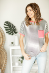 Heart Breaker Top In Neon Pink and Black and Ivory Stripes