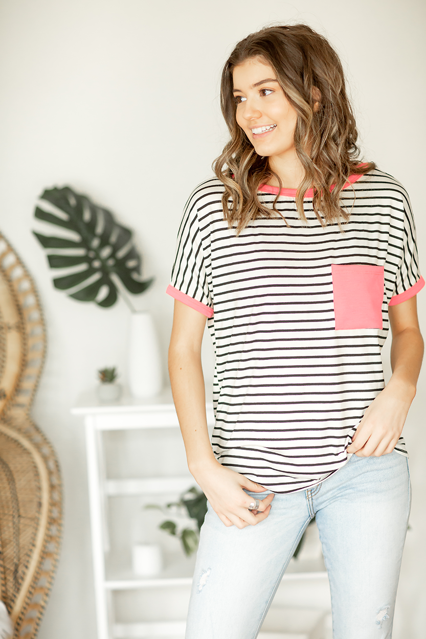 Heart Breaker Top In Neon Pink and Black and Ivory Stripes (SALE)