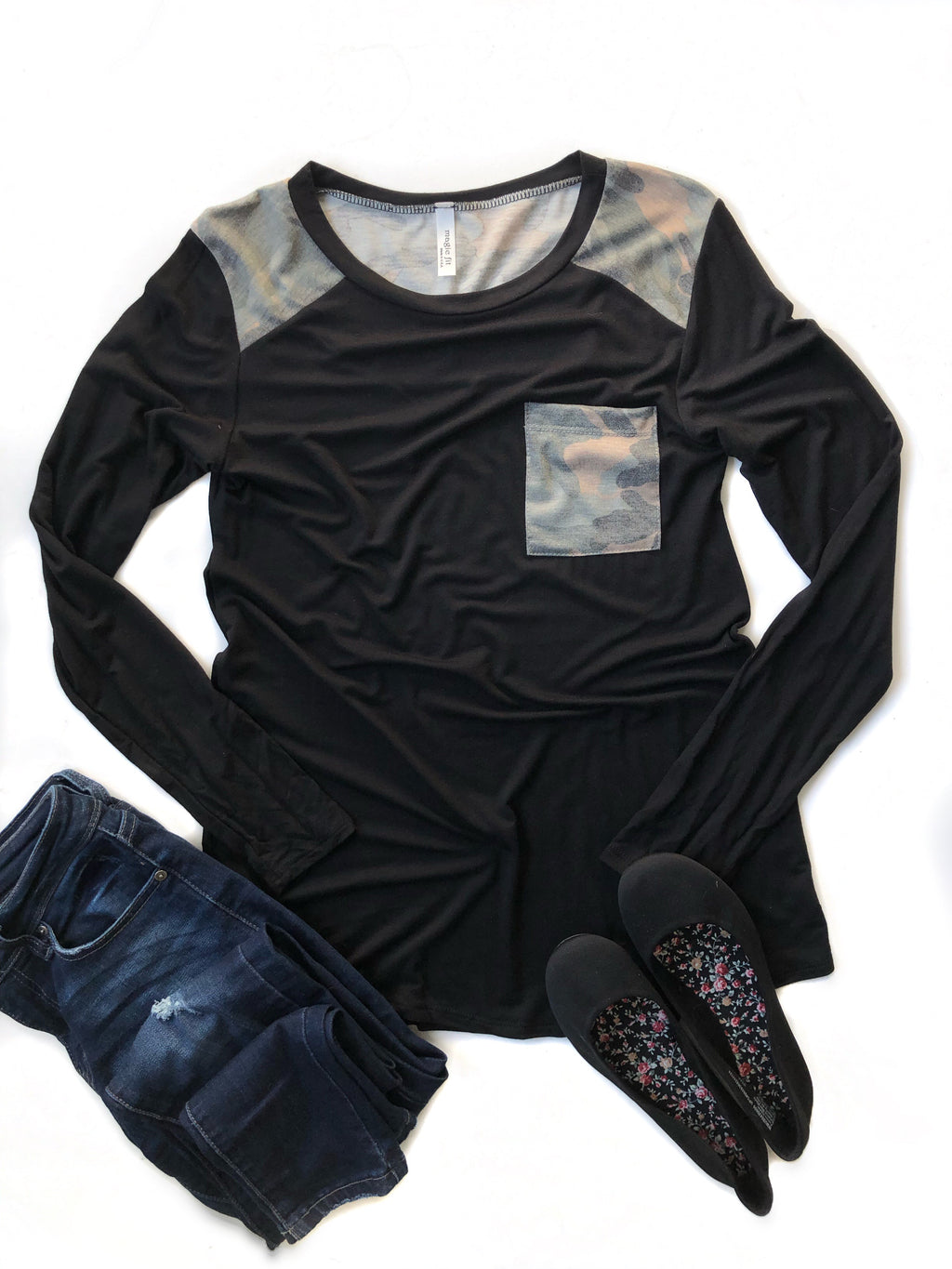 Simple Promises Long Sleeve Top with Camo Details in Black