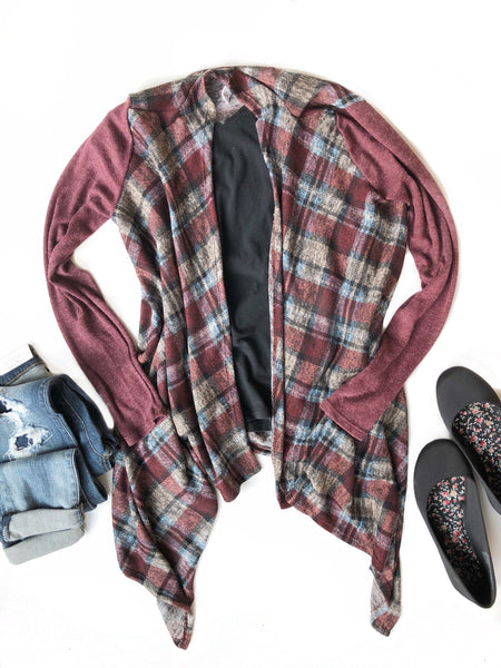 Laying Low Open Plaid Cardigan