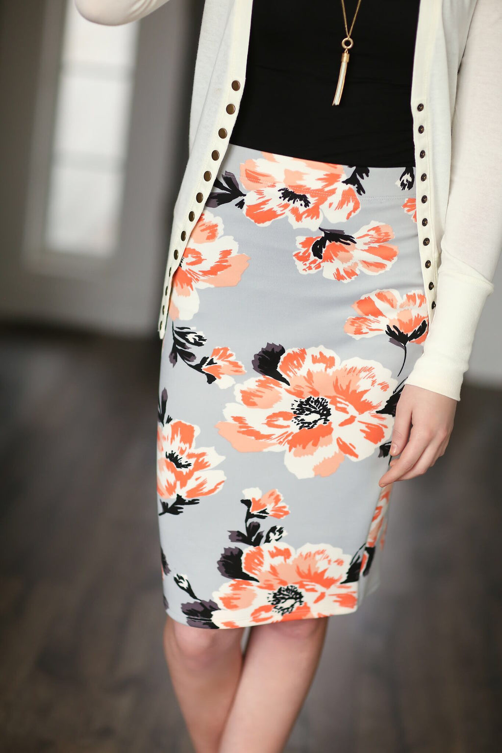 Seize the Day Floral Skirt in Gray