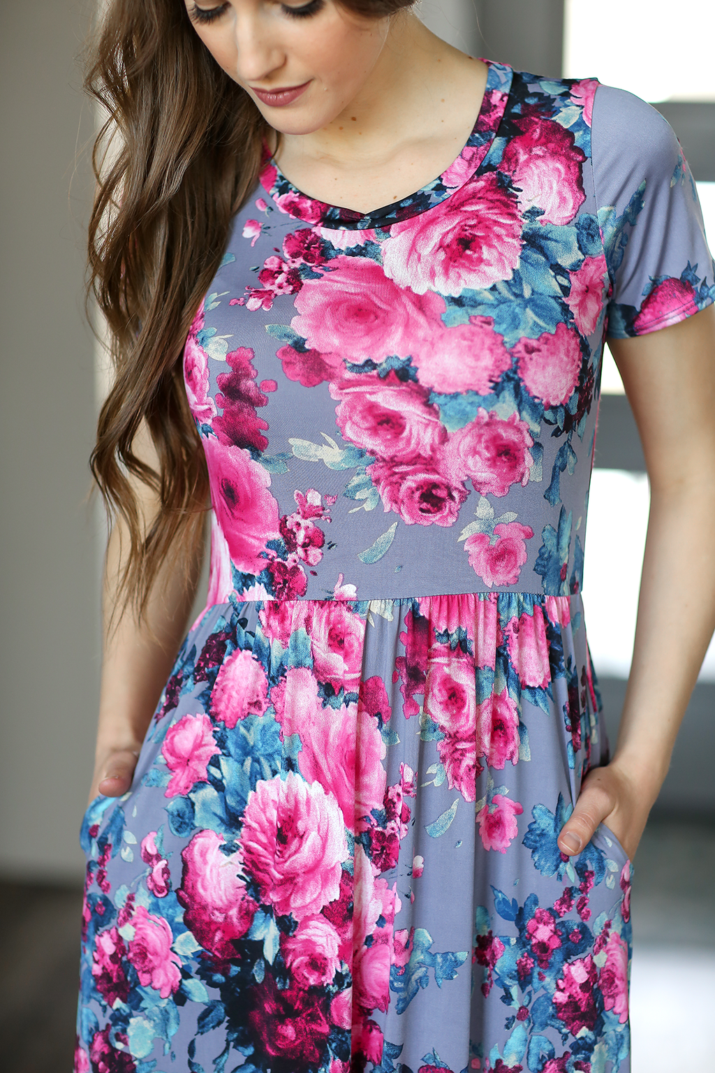 Forever Chic Maxi Dress in Bright Pink Floral