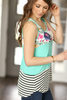 Sincerely Yours Color Block Tank in Mint, Floral and Stripes