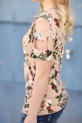 Get Excited Floral Top in Taupe (SALE)