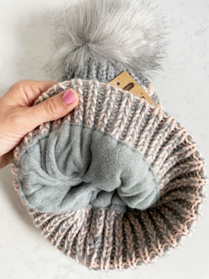CC Knit Pom Beanie in Pink and Gray