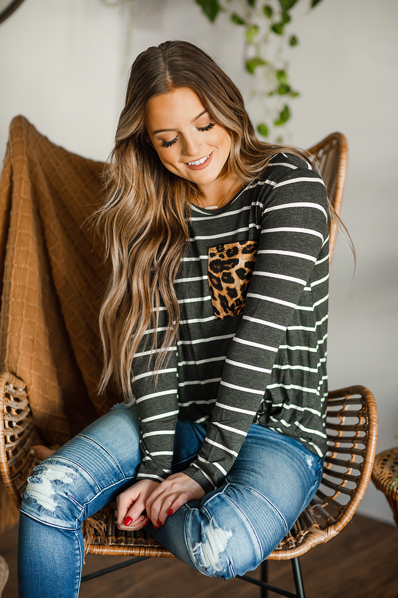 Fighting Alone Striped Top with Animal Print Pocket