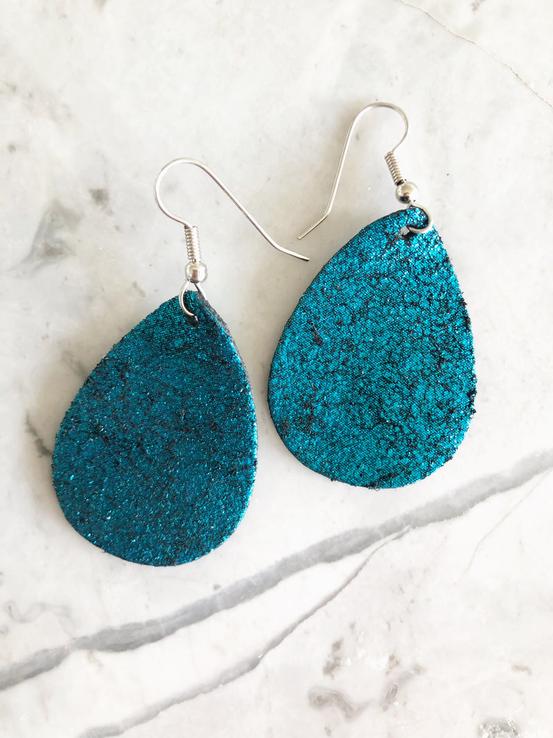 Teal Vintage Crackle Leather Earrings