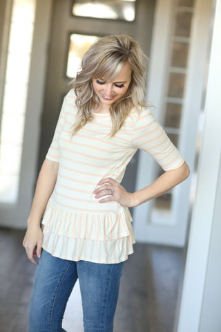 Striped Top in Blush with Ruffle Bottom
