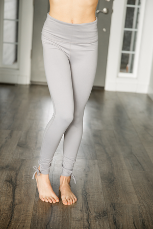 Peaceful Feeling Light Gray Leggings with Ankle Details