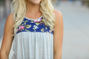 Places To Go Floral Detailed Tank in Gray (SALE)