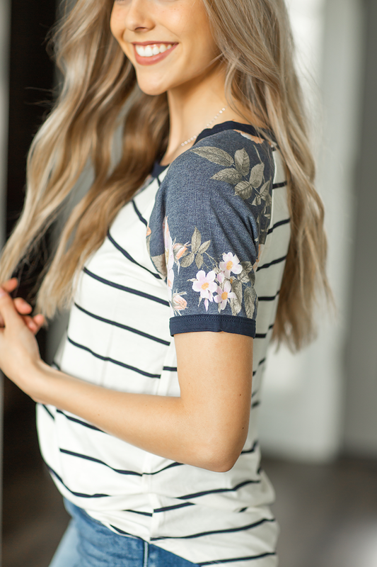 Keeping Me Up Floral and Stripes Top in Navy