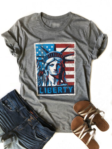 Lady Liberty Graphic Tee in Gray (SALE)