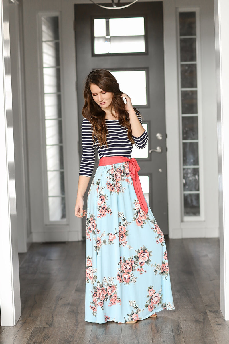 Just Want To Fly Striped and Blue Floral Maxi Dress