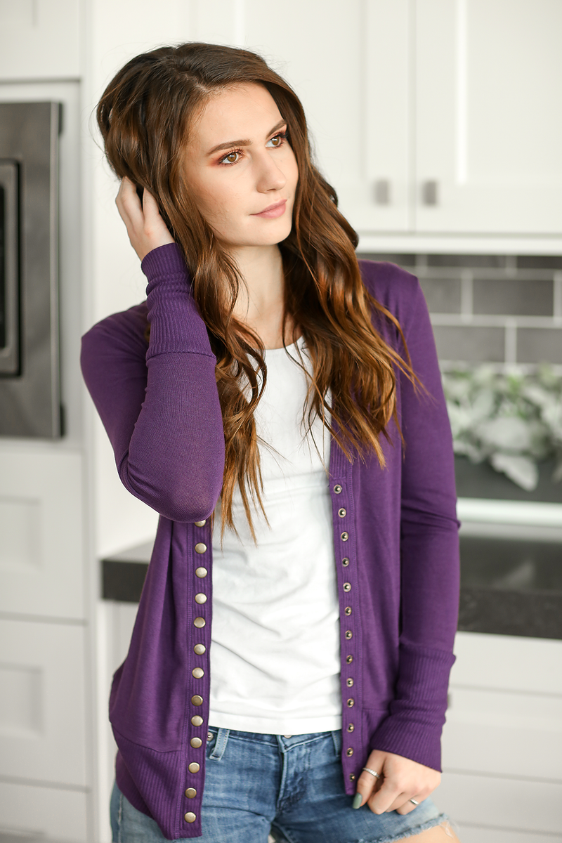 Cute As a Button Snap Cardigan in Purple