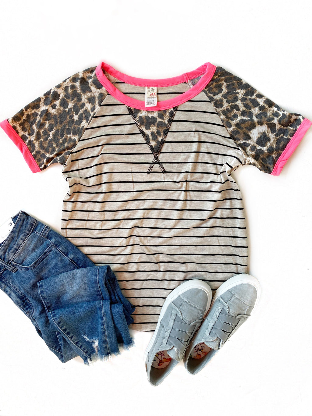 Talk The Talk Animal Print Sleeve Top in Oatmeal and Pink