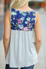 Places To Go Floral Detailed Tank in Gray