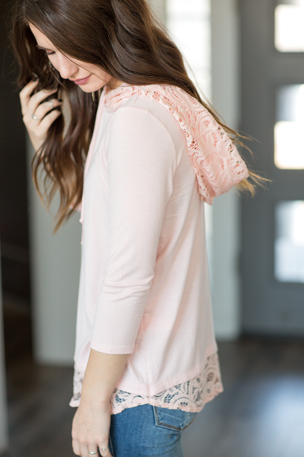 Forever Yours Lace Detailed Hoodie in Blush